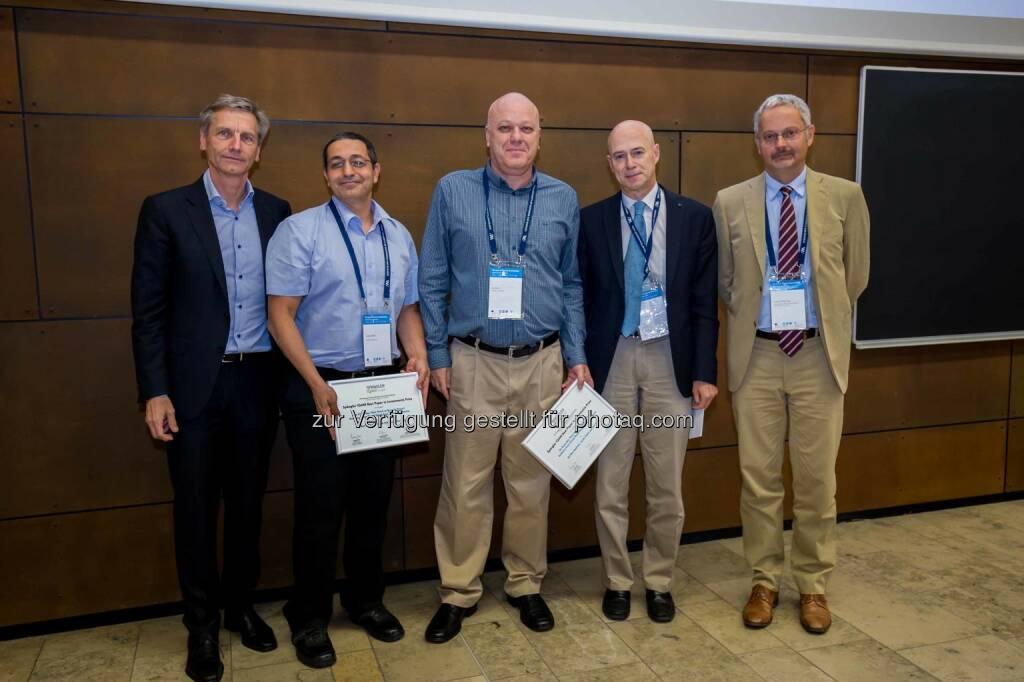 """Josef Zechner (Mitglied der Leitung des Spängler Iqam Research Center und der Wissenschaftlichen Leitung bei Spängler Iqam Invest), Jacob Oded (Preisträger), Avi Wohl (Preisträger), Franklin Allen (Herausgeber der Review of Finance) und Francois Degeorge (Präsident der European Finance Association): Im Rahmen der 42. Jahrestagung der European Finance Association (EFA), welche dieses Jahr erstmals in Wien stattfand, wurde bereits zum fünften Mal in Folge der """"Spängler Iqam Best Paper Prize"""" verliehen. (C) Spängler, © Aussendung (27.08.2015)"""
