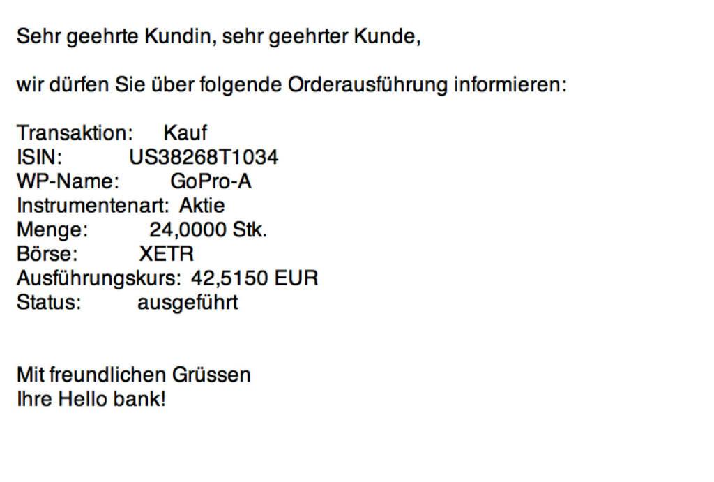 Tag 38: Kauf 24 GoPro zu 42,515 (27.08.2015)