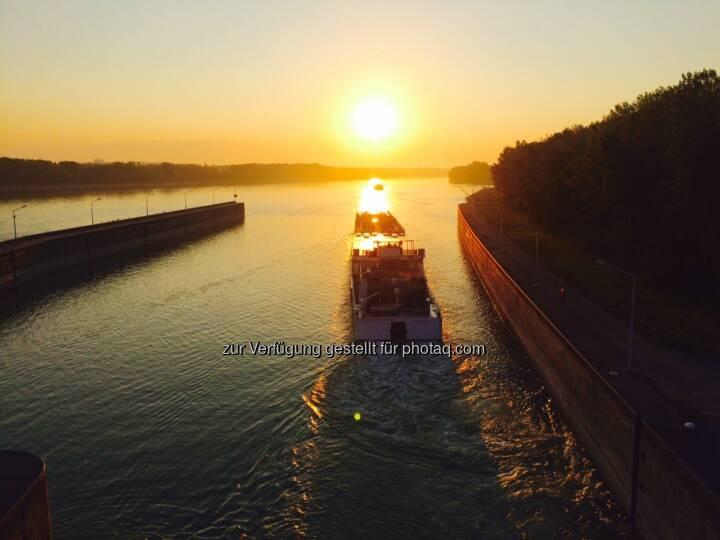 Sonnenaufgang, Schiff, fahren, der Sonne entgegen, Donau