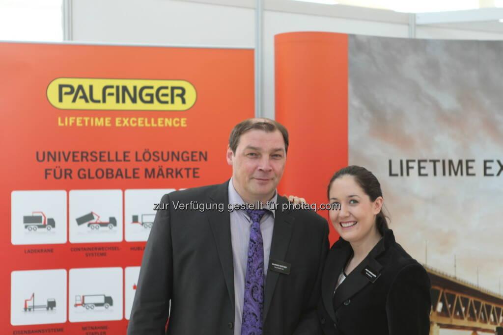 Hannes Roither, Julia Ganglbauer - Palfinger Messestand Börsentag München, siehe auch http://blog.palfinger.ag/ (20.03.2013)