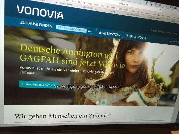 Aus Deutsche Annington wird Vonovia, per 21.9. auch im DAX, Screenshot der Homepage 7.9.2015