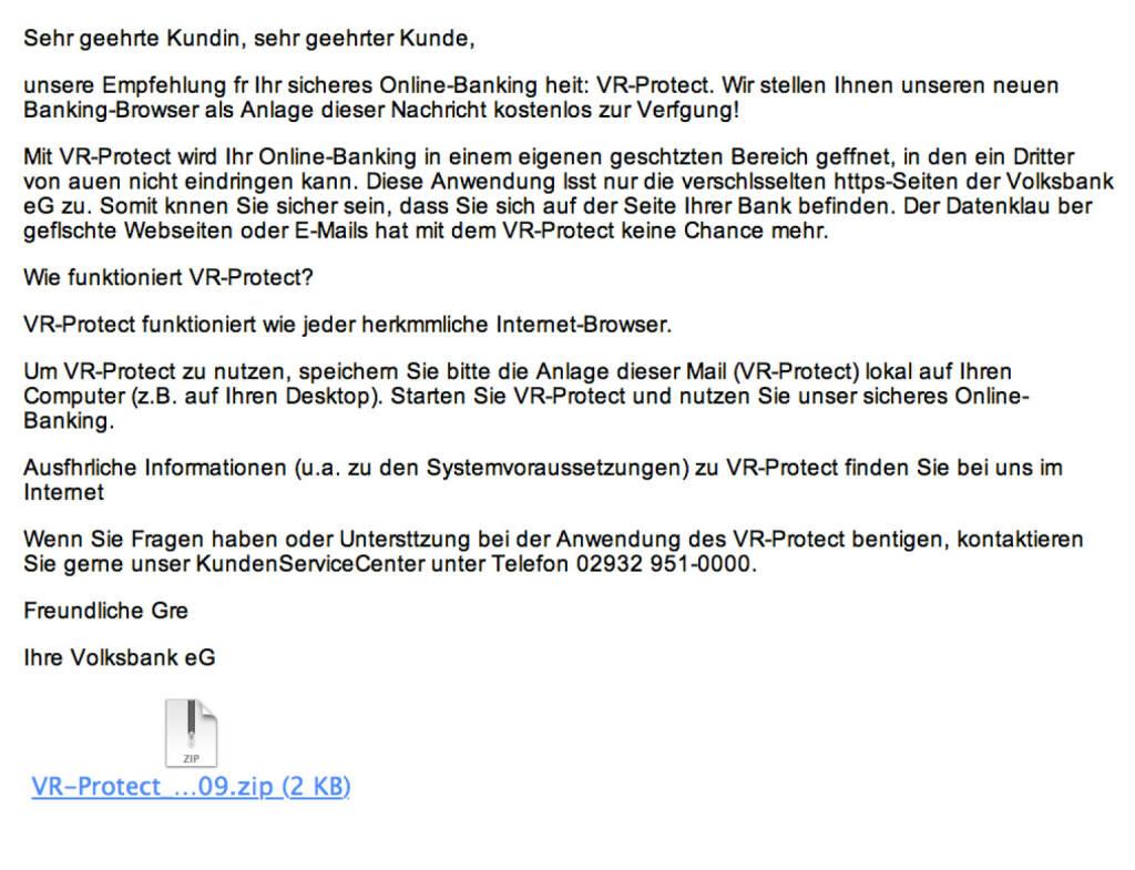 Spam-Opfer Volksbank mit VR-Protect-Fallen-Versuch (08.09.2015)