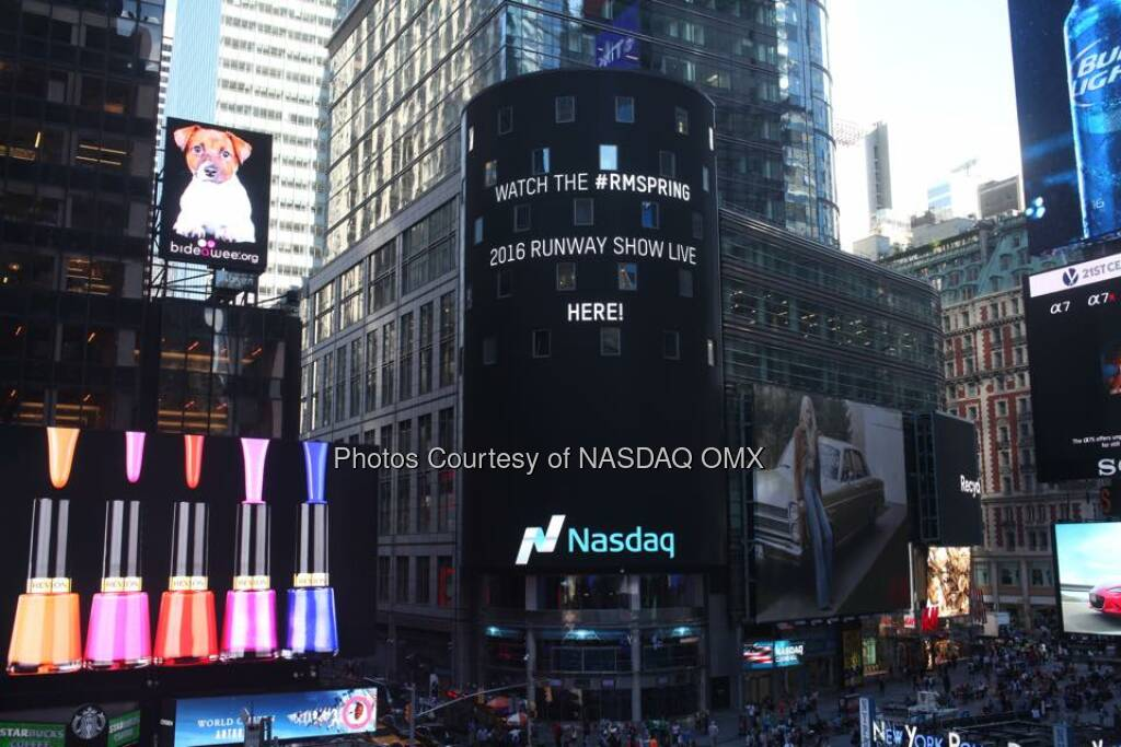 Tune-in Tomorrow at 12:00pm to watch the Rebecca Minkoff #RMSpring 2016 Runway Show LIVE here and on the Nasdaq Tower: http://www.rebeccaminkoff.com/spring-2016-runway-show #NYFW  Source: http://facebook.com/NASDAQ (13.09.2015)