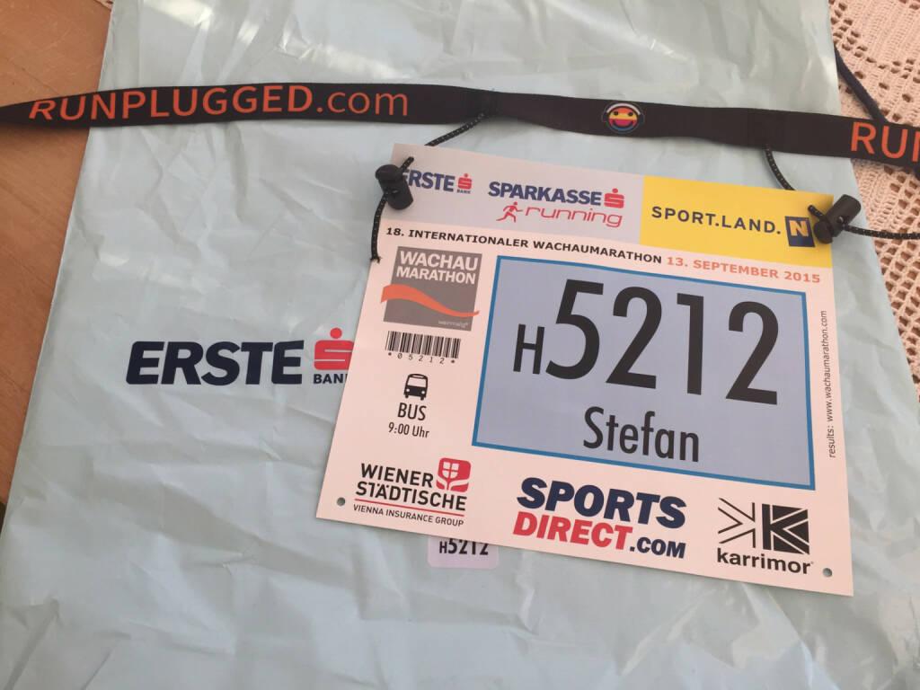 Wachau Halbmarathon 2015, Stefan Kratzsch Startnummer, runplugged Laufgurt (14.09.2015)