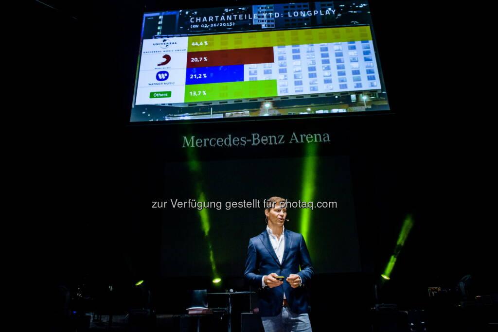 Frank Briegmann : Streaming treibt das Wachstum des Marktes : Der deutsche Musikmarkt hat in den ersten sieben Monaten des laufenden Jahres um sechs Prozent im Vergleich zum Vorjahreszeitraum zugelegt : zwei wichtige Wachstumsfaktoren sind - der anhaltend hohe Anteil von Domestic Acts und das ungebrochene Wachstum des Streaming-Segments : Fotocredit: Universal Music Entertainment, © Aussender (15.09.2015)