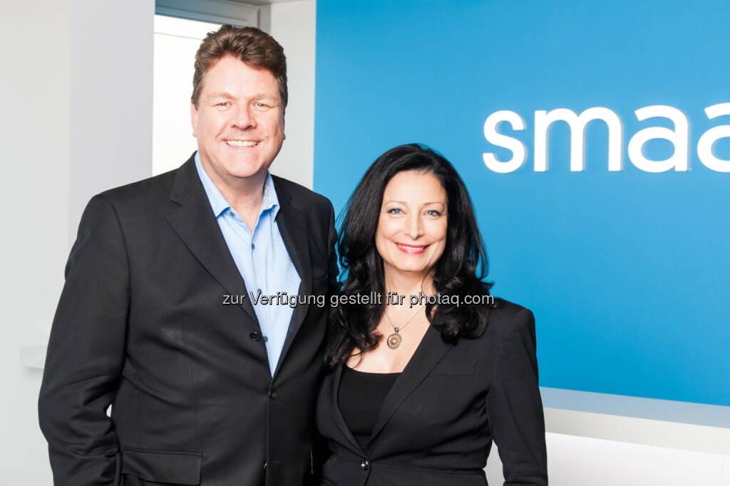 Ragnar Kruse, CEO und Founder Smaato, mit Partnerin und Co-Founderin Petra Vorsteher: Smaato: Smaato rüstet seine SPX Platform auf, um das Erstellen von Native Mobile Ads zu vereinfachen und Anzeigenerträge für Publisher zu maximieren, © Aussendung (16.09.2015)