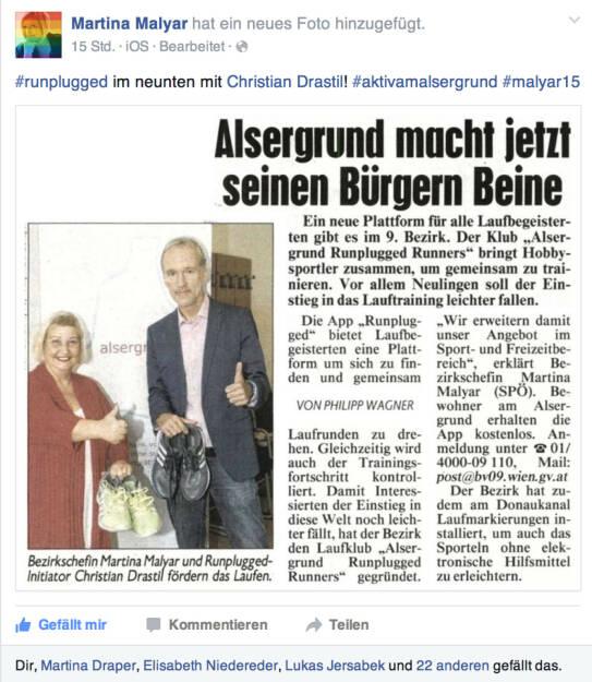 Alsergrund macht jetzt seinen Bürgern Beine - Runplugged mit BV Martina Malyar in der Krone (16.09.2015)