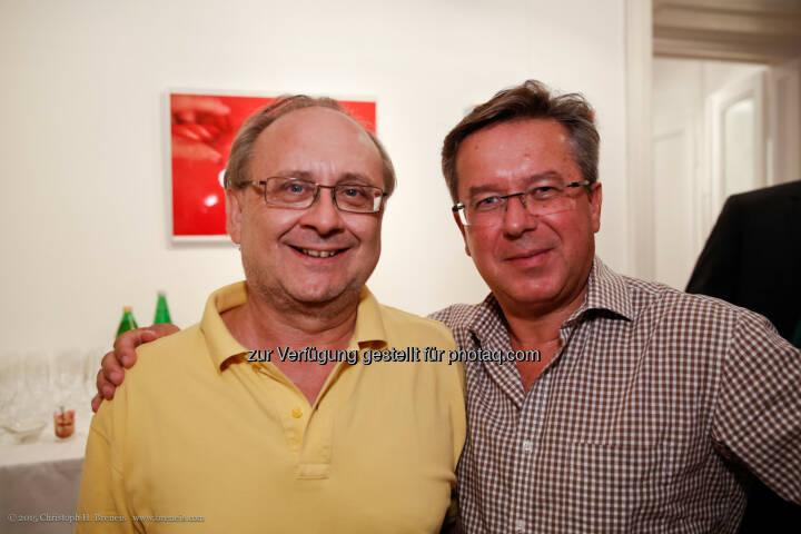 ÖMG Präsident Peter Drobil und Hans Bauernfeind, anlässlich: Yoga und Tee bei der Österreichische Marketing-Gesellschaft Business Lounge (Bild: Christoph H. Breneis/ÖMG)