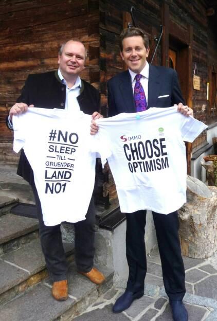 Choose Optimism vs. No Sleep Till Gründer Land No.1: Roland Meier und Harald Mahrer, © Diverse Fotografen / Aktion wurde vom Börse Express 2014 an photaq/BSN übetragen (17.09.2015)