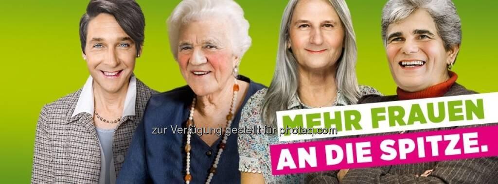 Mehr Frauen an die Spitze, meinen Die Grünen: Strache, Stronach, Spindelegger, Faymann (c) Die Grünen (21.03.2013)