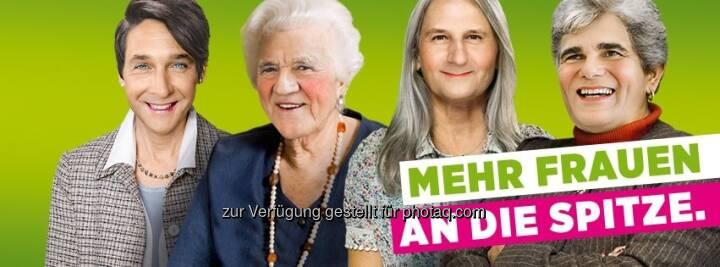 Mehr Frauen an die Spitze, meinen Die Grünen: Strache, Stronach, Spindelegger, Faymann (c) Die Grünen