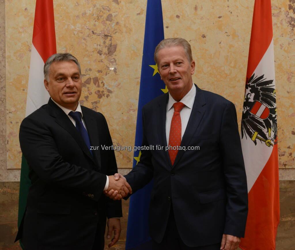 Viktor Orban und Reinhold Mitterlehner: Bundesministerium für Wissenschaft, Forschung und Wirtschaft: Mitterlehner nach Treffen mit Orban: Stärkere Zusammenarbeit vereinbart (25.09.2015)