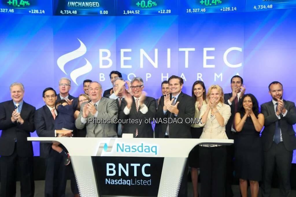 Benitec Biopharma rang the Nasdaq Opening Bell $BNTC  Source: http://facebook.com/NASDAQ (27.09.2015)