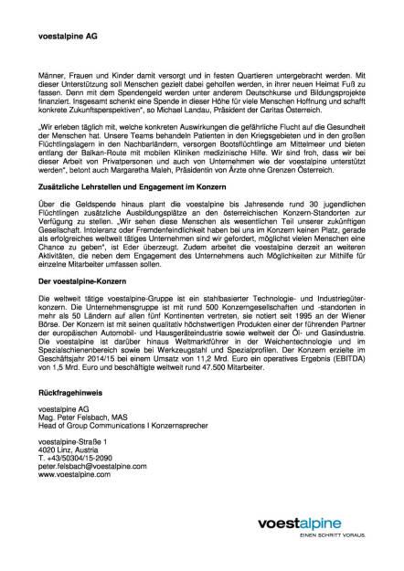 voestalpine setzt ein deutliches Zeichen für Flüchtlings- und Integrationshilfe, Seite 2/2, komplettes Dokument unter http://boerse-social.com/static/uploads/file_388_voestalpine_setzt_ein_deutliches_zeichen_fur_fluchtlings-_und_integrationshilfe.pdf (29.09.2015)
