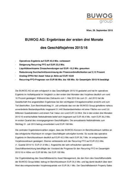 Buwog: Operatives Ergebnis auf EUR 42,5 Mio. verbessert, Seite 1/4, komplettes Dokument unter http://boerse-social.com/static/uploads/file_389_buwog_operatives_ergebnis_auf_eur_425_mio_verbessert.pdf (29.09.2015)