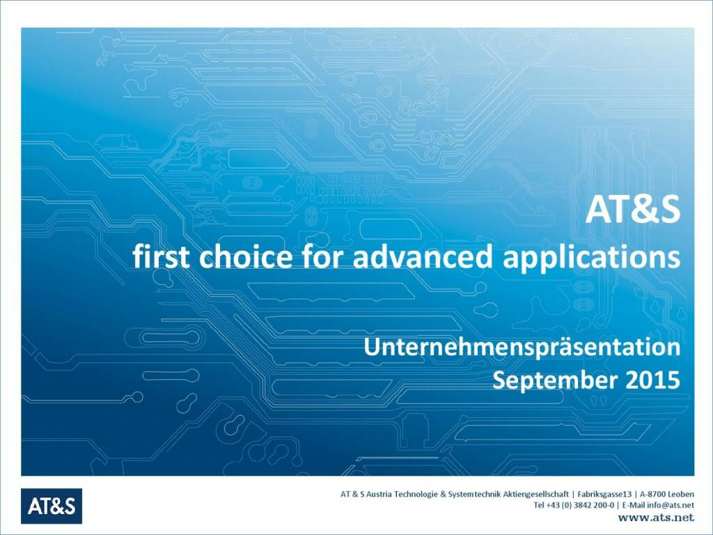 AT&S first choice for advanced applications (01.10.2015)