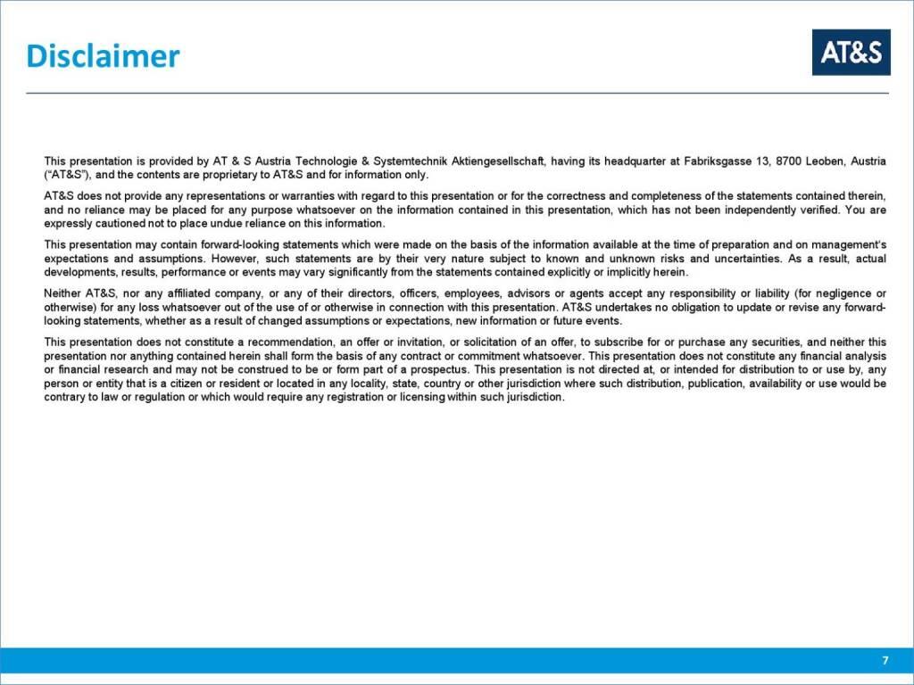 AT&S Dicsclaimer (01.10.2015)