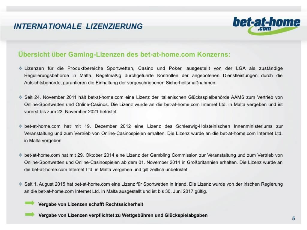 bet-at-home.com Internationale Lizenzierung (01.10.2015)