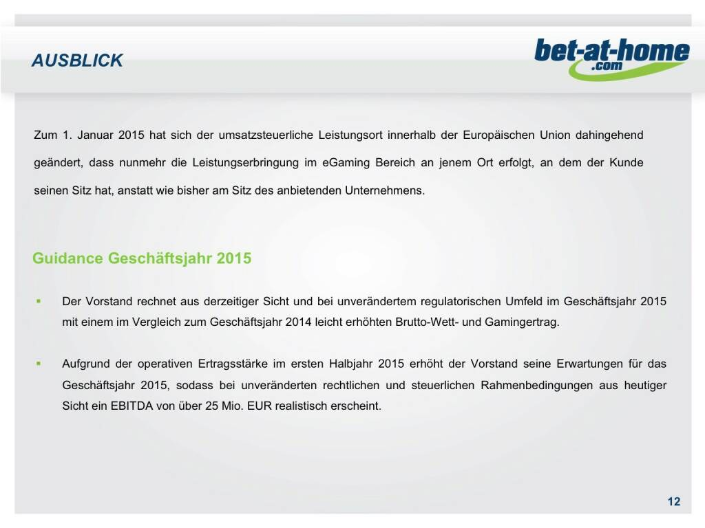 bet-at-home.com Ausblick (01.10.2015)