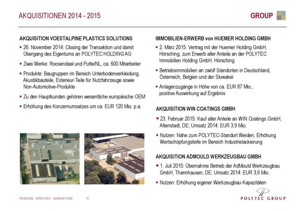 Polytec Akquisitionen (01.10.2015)