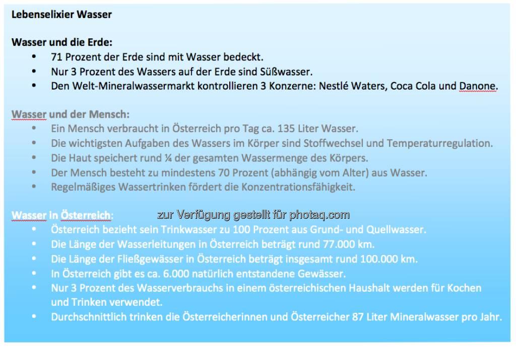 Lebenselexier Wasser: Info zum Weltwassertag von http://www.sodastream.at (22.03.2013)