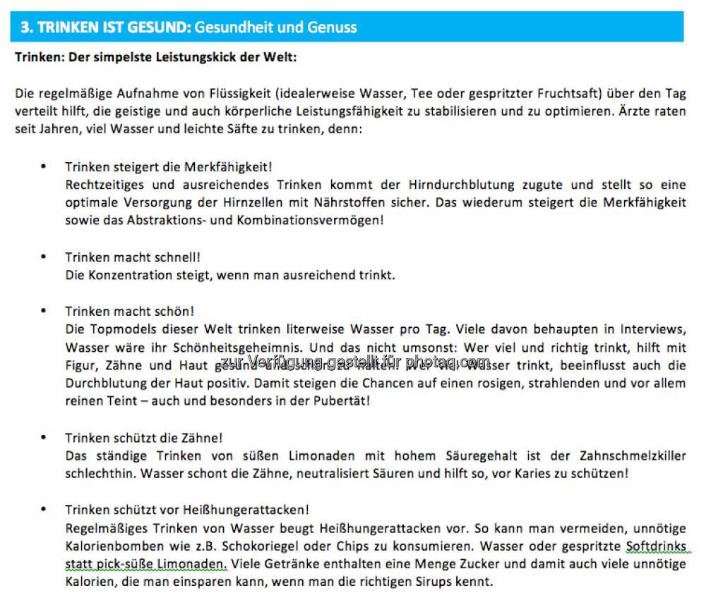 Trinken ist Gesund: Info zum Weltwassertag von http://www.sodastream.at (22.03.2013)
