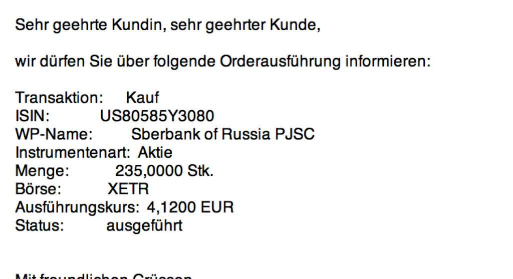 Tag 64: Kauf 235 Sberbank zu 4,12 (02.10.2015)