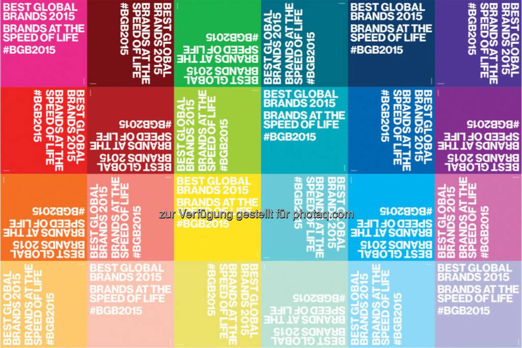 Interbrand's Best Global Brands 2015 : Die 100 wertvollsten Marken 2015 : Apple festigt Rang 1, Mini neu im Ranking, Facebook erneut mit höchster Markenwertsteigerung, BMW vor Mercedes, Amazon neu in Top 10 : Fotocredit: Interbrand, © Aussender (05.10.2015)