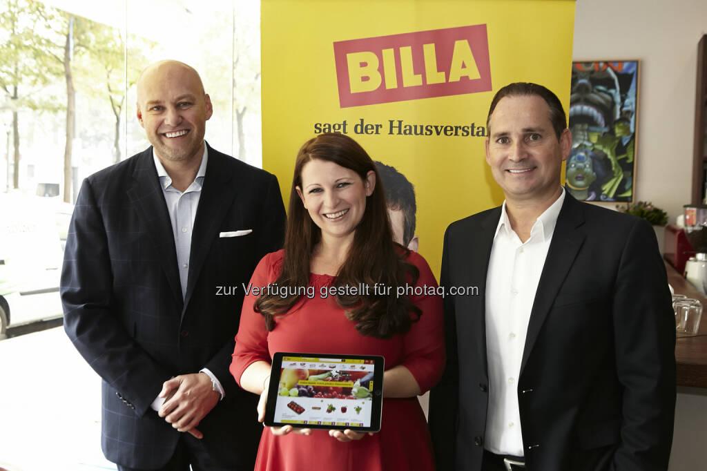 Volker Hornsteiner (Vorstandssprecher der Billa AG), Julia Stone (Head of eCommerce) und Josef Siess (Vorstand der Billa AG)Billa AG: Billa setzt neue Standards im Lebensmittel-Onlinehandel, © Aussender (06.10.2015)