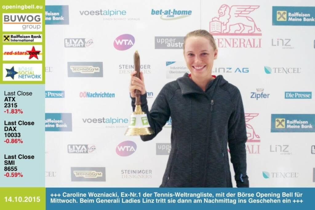 #openingbell am 14.10: Caroline Wozniacki, Ex-Nr.1 der Tennis-Weltrangliste, mit der Börse Opening Bell für Mittwoch. Beim Generali Ladies Linz tritt sie dann am Nachmittag ins Geschehen ein #wtalinz #CaroWozniacki http://www.openingbell.eu (14.10.2015)
