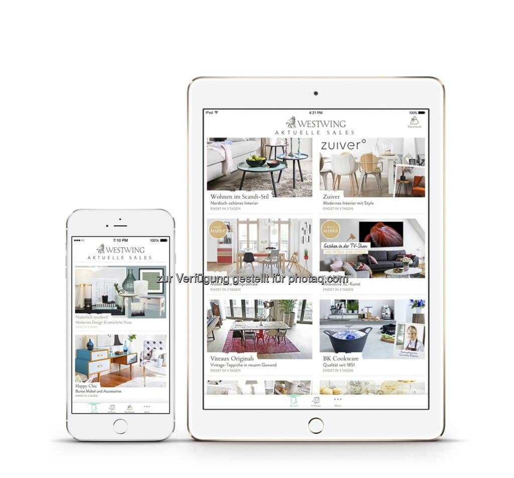Westwing launcht neue App für iPad und iPhone und macht es so noch bequemer Wohnideen zu Hause zu entdecken Living iPad App (Bild: Westwing Home & Living GmbH) - Download unter https://www.westwing.de/app/  (15.10.2015)