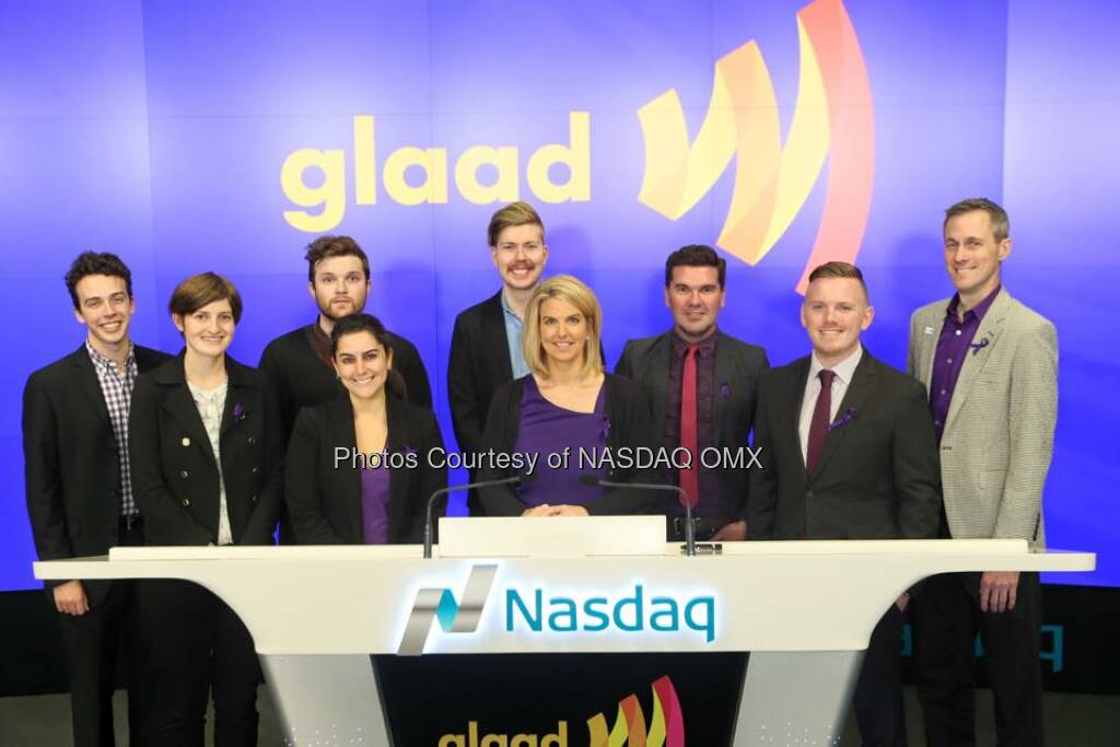 GLAAD rings the Nasdaq Closing Bell for #SpiritDay! #GoPurple  Source: http://facebook.com/NASDAQ (16.10.2015)