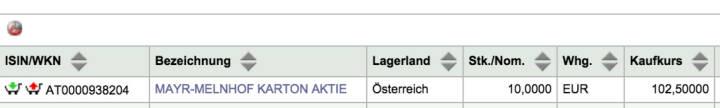 Tag 74: Kauf 10 Mayr-Melnhof zu 102,50
