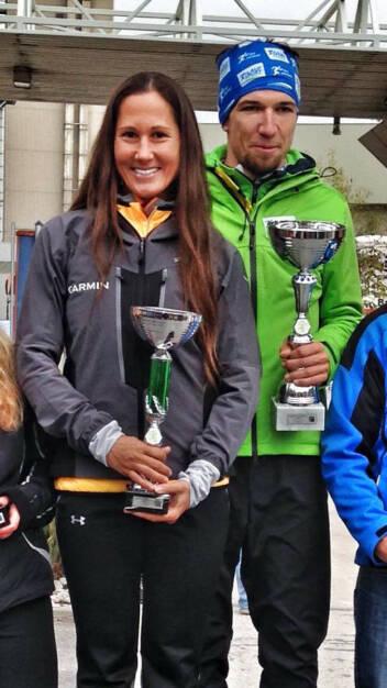 Monika Kalbacher, Siegerin Damen, Mangold Wolfgang, Sieger Herren beim Piestingtallauf 2015, © Diverse  (19.10.2015)