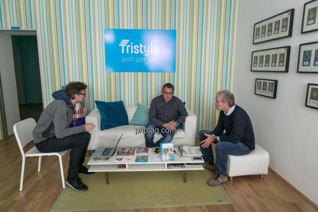 Josef Chladek (BSN), Helmut Lehner (Mavoco), Christian Drastil (BSN), © Martina Draper/photaq (20.10.2015)