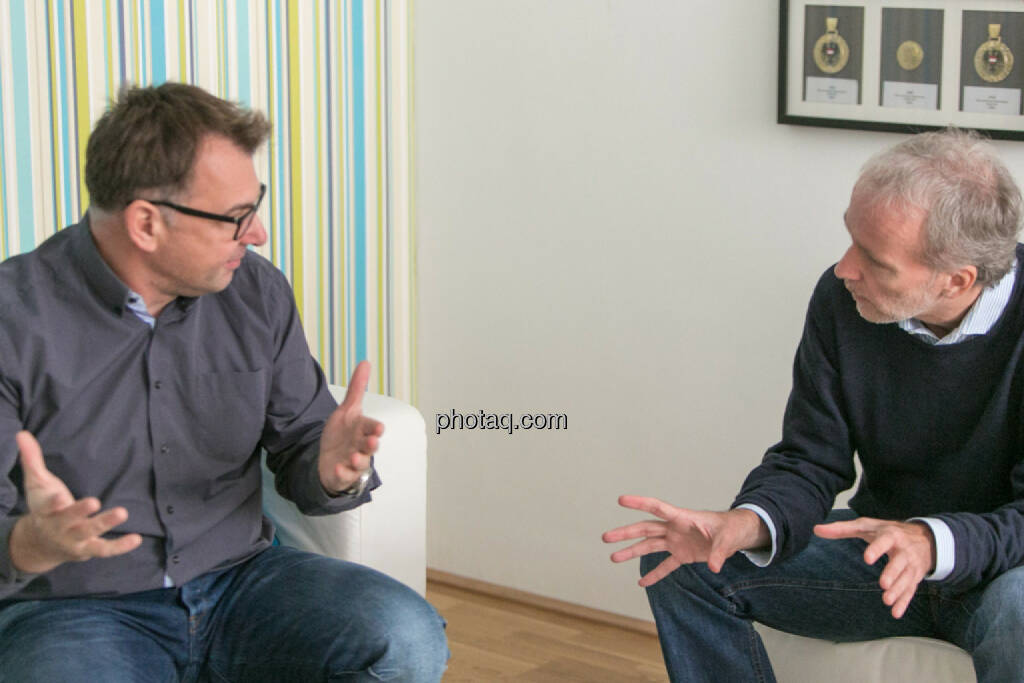 Helmut Lehner (Mavoco), Christian Drastil (BSN), © Martina Draper/photaq (20.10.2015)