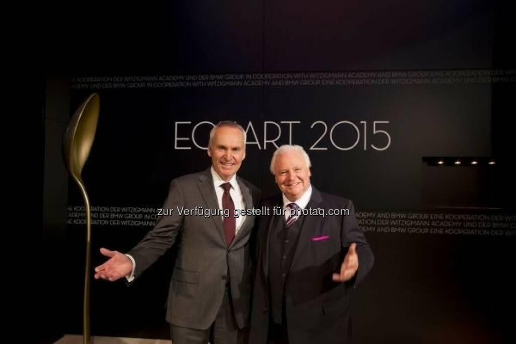 Friedrich Eichiner (Mitglied des Vorstands der BMW AG), Eckart Witzigmann: Verleihung des Eckart 2015, BMW Museum : © BMW Group, © Aussendung (22.10.2015)