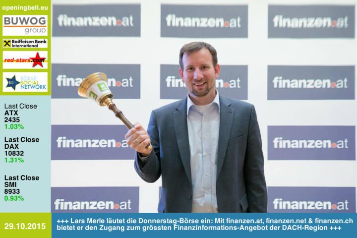 #openingbell am 29.10: Lars Merle läutet die Donnerstag-Börse ein: Mit finanzen.at, finanzen.net & finanzen.ch bietet er den Zugang zum grössten Finanzinformations-Angebot der DACH-Region http://www.openingbell.eu