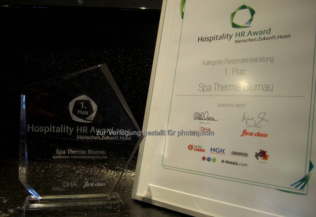 Hospitality HR Award 2015 : Platz 1. für das Rogner Bad Blumau beim Hospitality HR Award 2015 : Fotocredit : Rogner Bad Blumau, © Aussendung (03.11.2015)