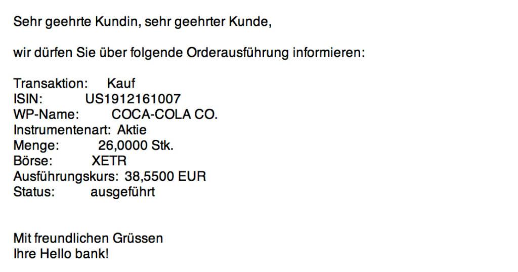 Tag 85: Kauf 26 Coca-Cola zu 38,55 Euro (03.11.2015)