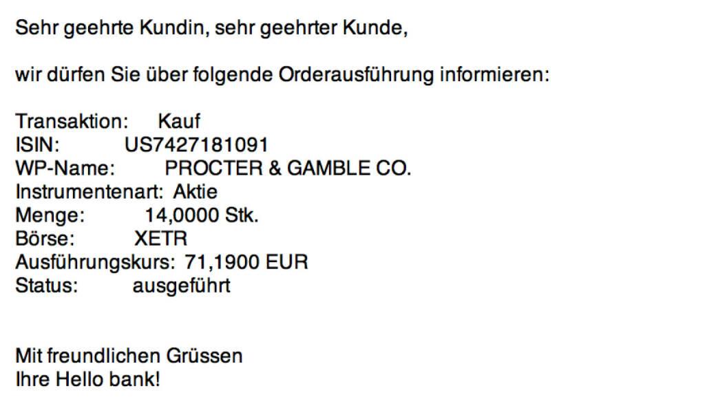 Tag 87: Kauf 14 Procter & Gamble zu 71,19 (05.11.2015)
