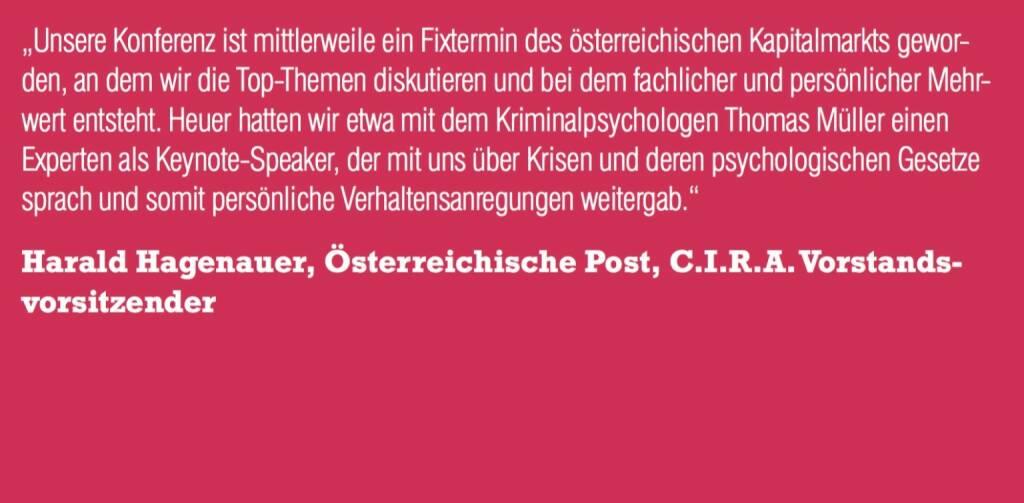 Harald Hagenauer, Österreichische Post, C.I.R.A. Vorstandsvorsitzender (06.11.2015)