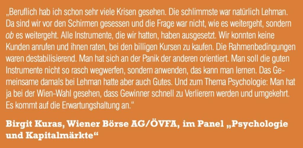 "Birgit Kuras, Wiener Börse AG/ÖVFA, im Panel ""Psychologie und Kapitalmärkte"" (06.11.2015)"
