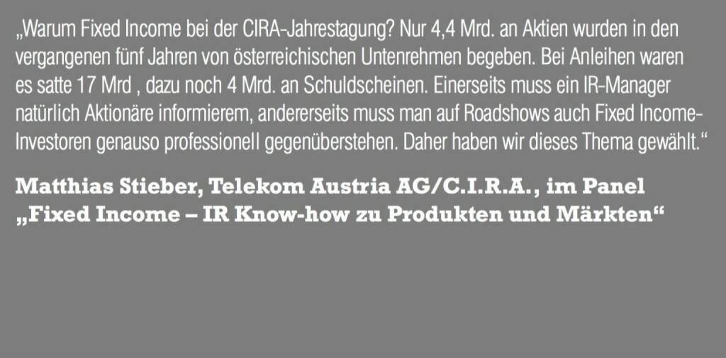 """Matthias Stieber, Telekom Austria AG/C.I.R.A., im Panel """"Fixed Income – IR Know-how zu Produkten und Märkten"""" (06.11.2015)"""