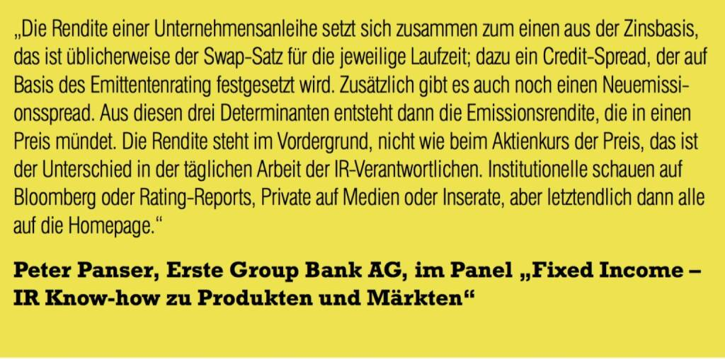 "Peter Panser, Erste Group Bank AG, im Panel ""Fixed Income – IR Know-how zu Produkten und Märkten"" (06.11.2015)"