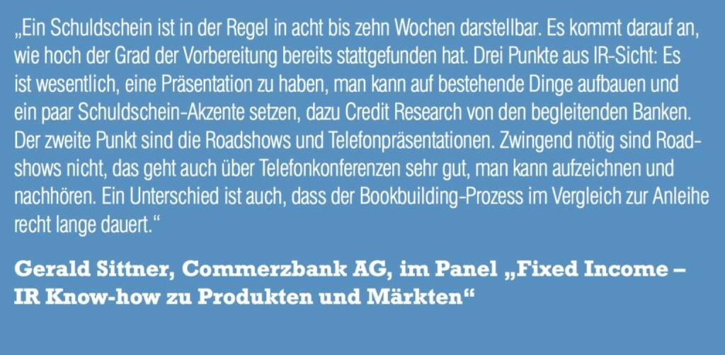 "Gerald Sittner, Commerzbank AG, im Panel ""Fixed Income – IR Know-how zu Produkten und Märkten"" (06.11.2015)"