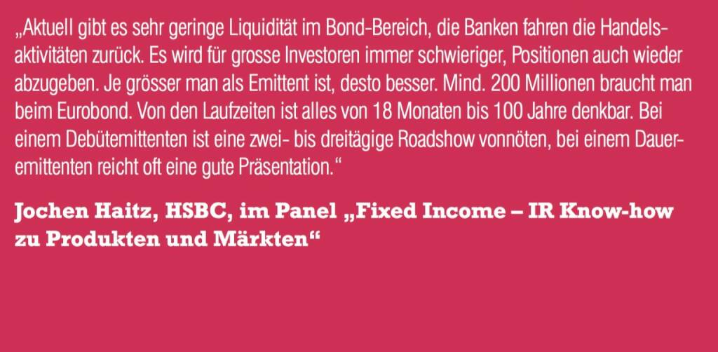 "Jochen Haitz, HSBC, im Panel ""Fixed Income – IR Know-how zu Produkten und Märkten"" (06.11.2015)"