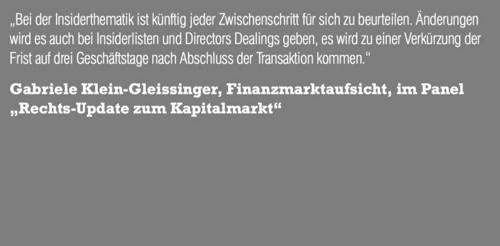 """Gabriele Klein-Gleissinger, Finanzmarktaufsicht, im Panel """"Rechts-Update zum Kapitalmarkt"""" (06.11.2015)"""