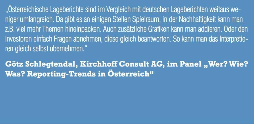 """Götz Schlegtendal, Kirchhoff Consult AG, im Panel """"Wer? Wie? Was? Reporting-Trends in Österreich"""" (06.11.2015)"""