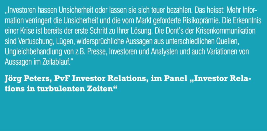 "Jörg Peters, PvF Investor Relations, im Panel ""Investor Relations in turbulenten Zeiten"" (06.11.2015)"